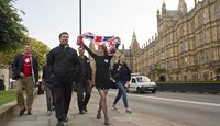 EU referendum. Leave supporters celebrate opposite the Houses of Parliament in London after voters in the referendum backed the campaign for the UK to leave the EU. Photographer: Anthony Devlin/PA Wire/Press Association Images via AP Photo
