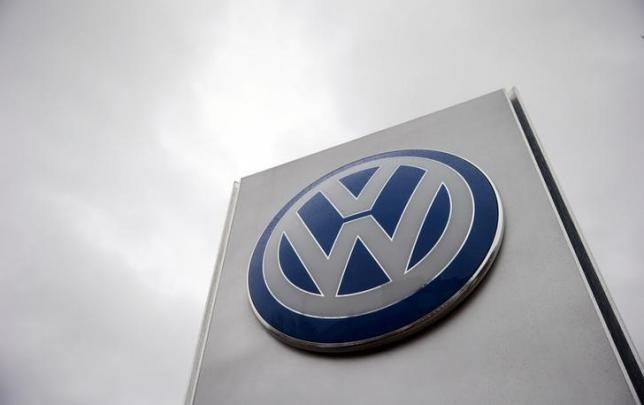 A VW sign is seen outside a Volkswagen dealership in London, Britain November 5, 2015.