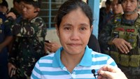 Marites Flor, seen after she was released by Abu Sayyaf Islamic militants in Jolo, on the southern Phlippine island of Mindanao, on June 24, 2016