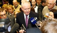 Sinn Fein politician and Northern Ireland's Deputy First Minister Martin McGuinness attends a general election count at the Royal Dublin Society centre in Dublin, Ireland February 27, 2016.
