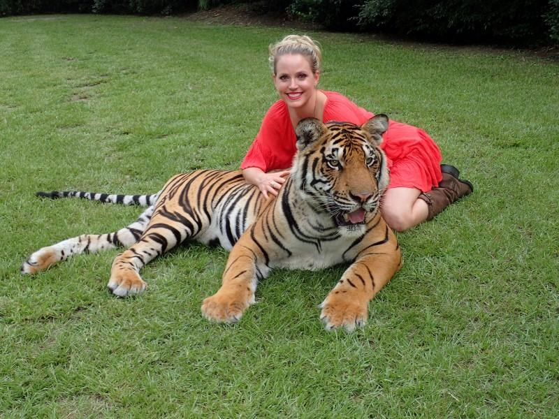 The tiger Arjuna is pictured with Moksha Bybee at Myrtle Beach Safari in Myrtle Beach, South Carolina, U.S, in this handout photo provided by MyrtleBeachSafari.com. MyrtleBeachSafari.com/Handout via Reuters