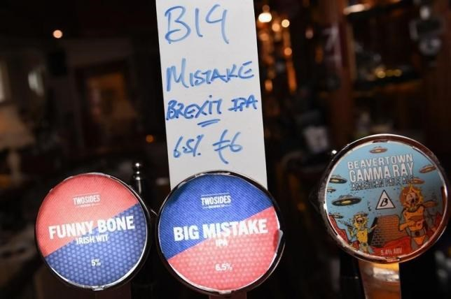 A bar in Dublin has specially made a Brexit beer for the results of the British EU Referendum called 'Big Mistake' in Ireland, June 26, 2016.