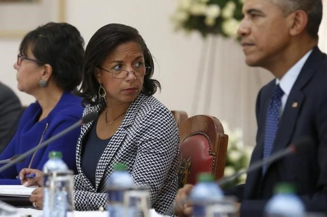 U.S. National Security Advisor Susan Rice (C) joins President Barack Obama (R) as he participates in a bilateral meeting with Kenya's President Uhuru Kenyatta (not pictured) at the State House in Nairobi July 25, 2015.