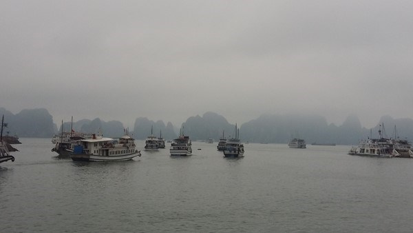 Tourist boats operate in Ha Long Bay