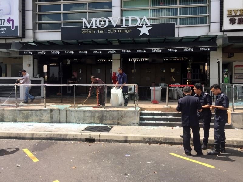 The Movida bar is pictured after a grenade attack in Puchong, on the outskirts of Kuala Lumpur, Malaysia June 28, 2016.