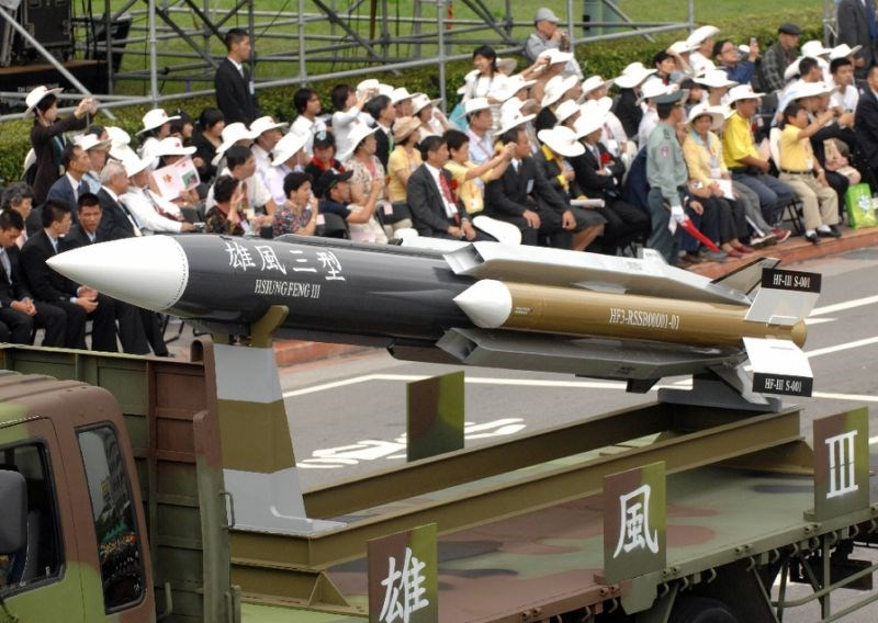 A model of a home-grown supersonic Hsiung-feng III (Brave Wind) ship-to-ship missile in Taipei, Taiwan