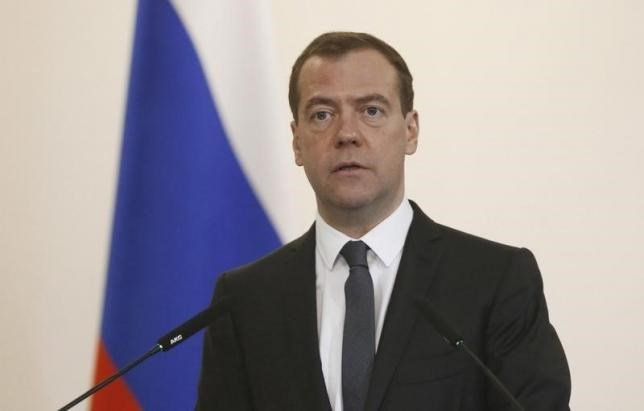 Russia's Prime Minister Dmitry Medvedev delivers a speech during the finance ministry's expanded board meeting in Moscow, Russia, April 20, 2016.