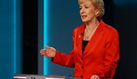 Energy Minister Andrea Leadsom speaks during the ''The ITV Referendum Debate'' at the London Television Centre in Britain, June 9, 2016. Photo by Matt Frost/ITV/REX/Shutterstock via Reuters