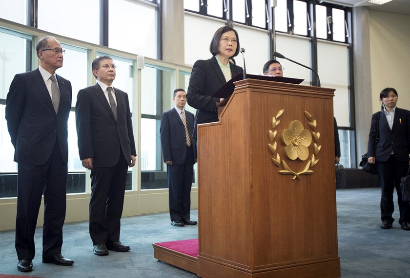 Tsai Ing-wen speaks in response to the fatal anti-ship missile launch. Photographer: Handout via EPA