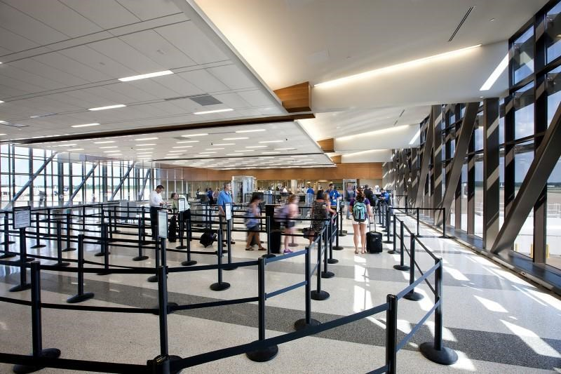 The security screening area of Norfolk International Airport after renovation is seen in an undated handout picture in Norfolk, Virginia, U.S.. Chris Cunningham/Courtesy of Gresham, Smith, and Partners/Handout via REUTERS