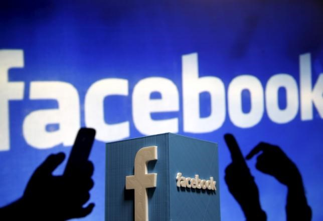 A 3D plastic representation of the Facebook logo is seen in this illustration in Zenica, Bosnia and Herzegovina, May 13, 2015.