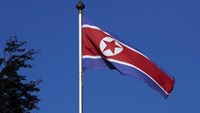 A North Korean flag flies on a mast at the Permanent Mission of North Korea in Geneva October 2, 2014. Photo: Reuters