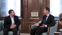 Syria's President Bashar al-Assad (R) meets with European Parliament delegation headed by Javier Couso (L), vice-president of the European parliamentary committee on foreign affairs, in Damascus, Syria, in this handout picture provided by SANA on July 10, 2016.