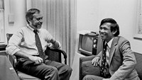 This image courtesy of The New York Times, shows then-New York Times correspondent Sydney Schanberg (L) talking with colleague Dith Pran in The Times office in New York on January 15, 1980
