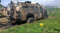 A wreckage of a Sudan People's Liberation Movement armored personnel carriers (APC) is seen abandoned after it was destroyed in renewed fighting in Juba, South Sudan, July 11, 2016.