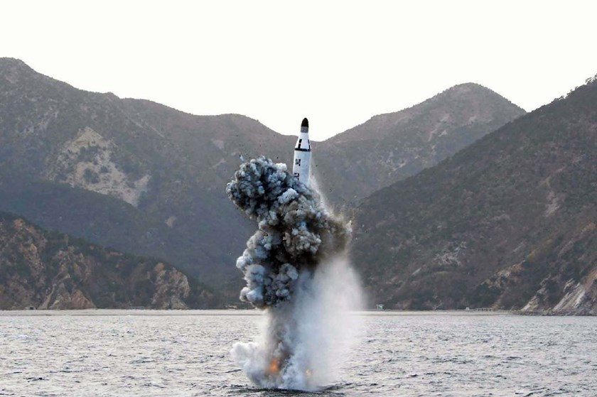 The test-fire of a submarine-launched ballistic missile at an undisclosed location in North Korea in April 2016