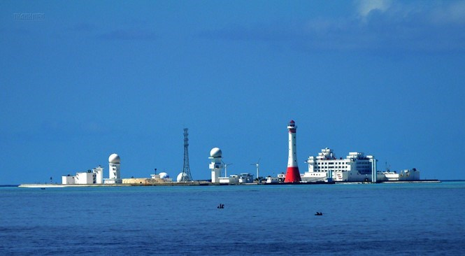 China's illegal construction in Gac Ma (South Johnson) reef of the Spratly island in the East Sea (South China Sea). Photo: Mai Thanh Hai