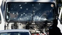 Bullet imacts are seen on the heavy truck the day after it ran into a crowd at high speed killing scores celebrating the Bastille Day July 14 national holiday on the Promenade des Anglais in Nice, France, July 15, 2016.
