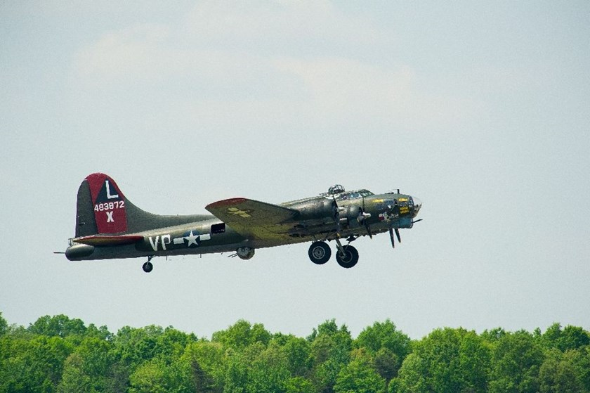 A WWII Boeing B-17 Flying Fortress takes off from the Manassas Regional Airport in Virginia