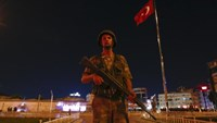 A Turkish military stands guard near the Taksim Square in Istanbul, Turkey.