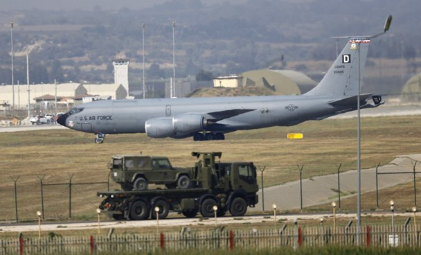 A U.S. Air Force Boeing KC-135R Stratotanker aerial refueling aircraft lands at Incirlik air base