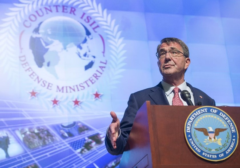 US Secretary of Defense Ashton Carter speaks at the conclusion of a meeting of defense ministers of the Global Coalition to Counter ISIL at Joint Base Andrews in Maryland, July 20, 2016