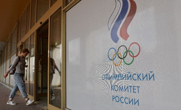A woman enters the Russian Olympic Committee (ROC) building in Moscow on July 20, 2016