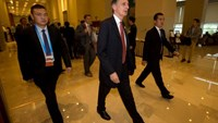 Britain's Chancellor of the Exchequer Philip Hammond (C) walks to a meeting during the G20 Finance Ministers and Central Bank Governors conference held in Chengdu in Southwestern China's Sichuan province, July 23, 2016.