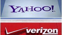 A combination photo shows Yahoo logo in Rolle, Switzerland (top) in 2012 and a Verizon sign at a retail store in San Diego, California, U.S. In 2016.