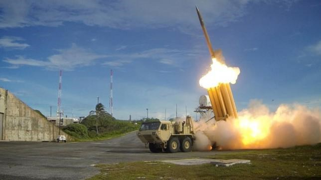 A Terminal High Altitude Area Defense (THAAD) interceptor is launched during a successful intercept test, in this undated handout photo provided by the U.S. Department of Defense, Missile Defense Agency