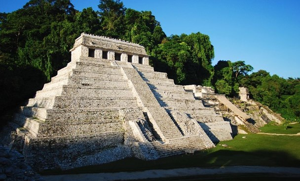 A general view of the Temple of the Inscriptions at the archaeological site of Palenque, in the state of Chiapas
