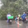 Three uprooted in Hanoi street, falls on passers-by