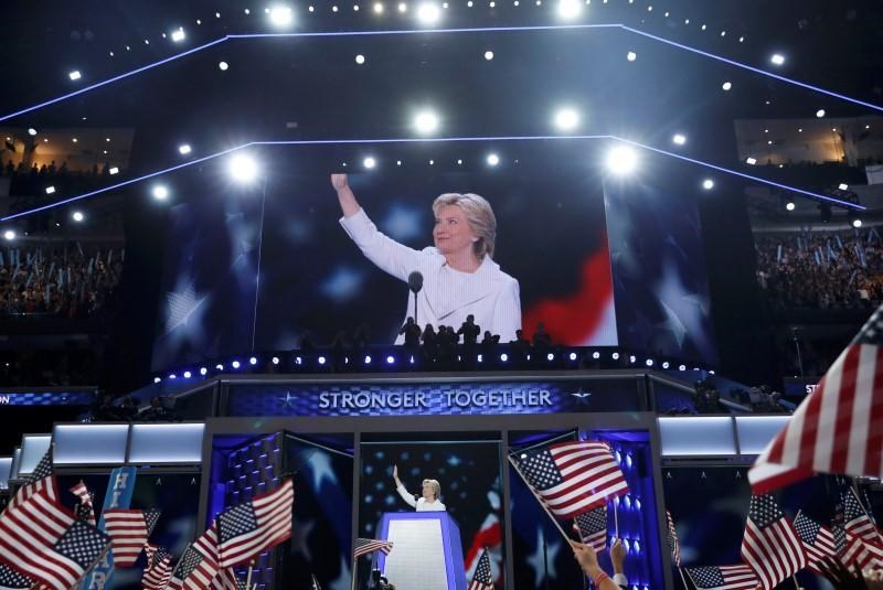 Democratic U.S. presidential nominee Hillary Clinton accepts the nomination on the fourth and final night at the Democratic National Convention in Philadelphia, Pennsylvania, U.S. July 28, 2016.