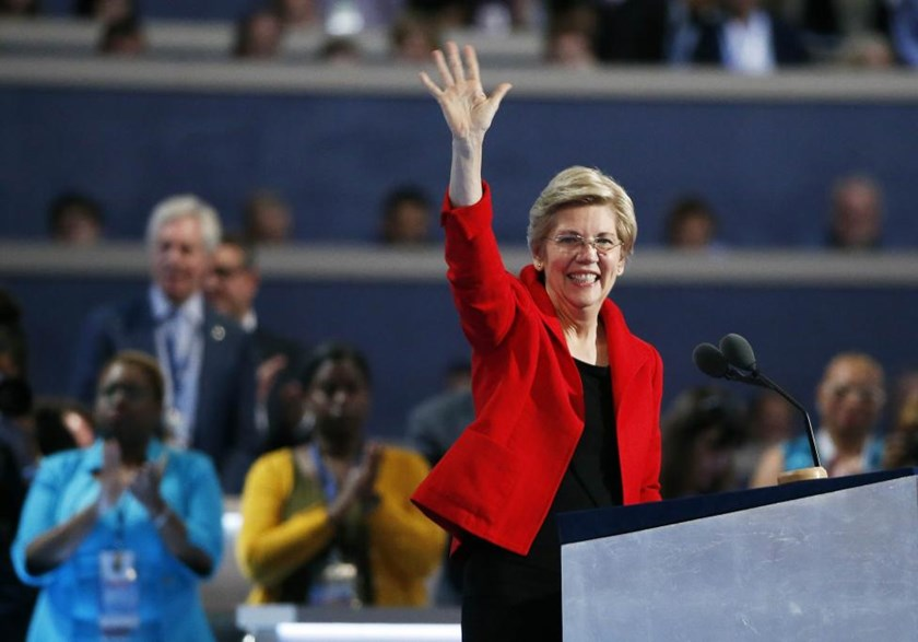Senator Elizabeth Warren (D-MA) waves during the Democratic National Convention in Philadelphia, Pennsylvania, U.S. July 25, 2016.