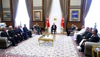 Turkey's President Tayyip Erdogan (C) meets with Turkey's Chief of Staff General Hulusi Akar (6th L), Defense Minister Fikri Isik (6th R) and the members of High Military Council at the Presidential Palace in Ankara, Turkey, July 29, 2016. Kayhan Ozer/Presidential Palace/Handout via REUTERS