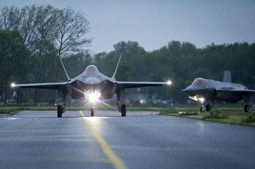 Two American F-35A Lightning II fighter jets land in Leeuwarden, The Netherlands, on May 23, 2016