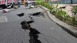 Part of HCMC road sinks, develops cracks