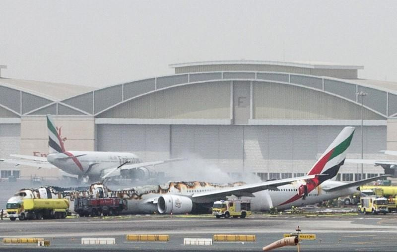 An Emirates Airline flight is seen after it crash-landed at Dubai International Airport, the UAE August 3, 2016.