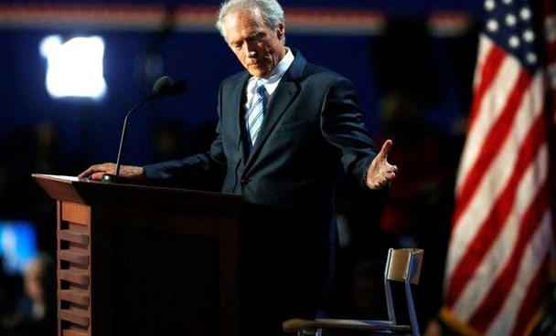 Actor Clint Eastwood addresses an empty chair and questions it as if it is U.S. President Obama, as he endorses Republican presidential nominee Mitt Romney during the final session of the Republican National Convention in Tampa, Florida, August 30, 2012.