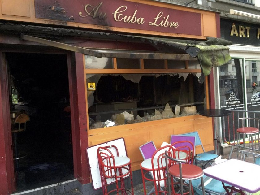 View of the bar in Rouen, France, August 8, 2016 where a fire killed 13 people and injured another six, the interior ministry said in a statement.
