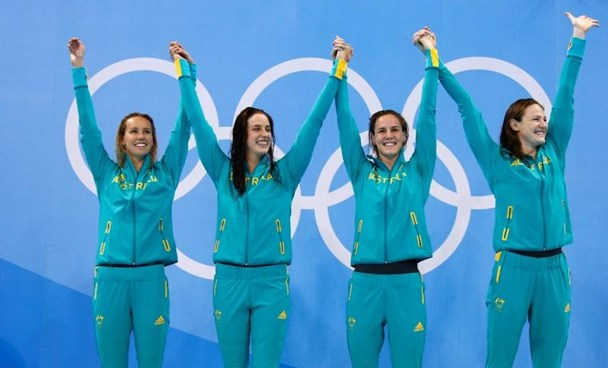 Emma McKeon (AUS) Brittany Elmslie (AUS) Bronte Campbell (AUS) and Cate Campbell (AUS) of Australia pose with their medals.
