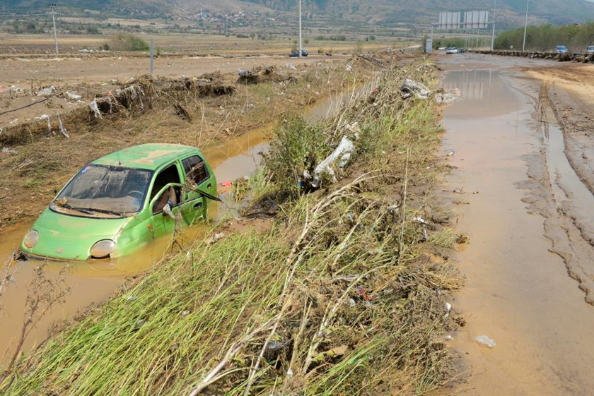 A wrecked car is seen after heavy floods in Cento near Skopje, Macedonia, August 7, 2016.