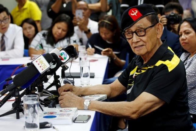 Former Philippine President Fidel Ramos speaks to journalists during a trip to Hong Kong, China after the Hague court's ruling over the maritime dispute in South China Sea, August 9, 2016.