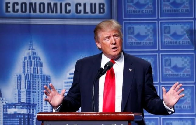 Republican U.S. presidential nominee Donald Trump speaks to the Detroit Economic Club at the Cobo Center in Detroit, Michigan August 8, 2016.
