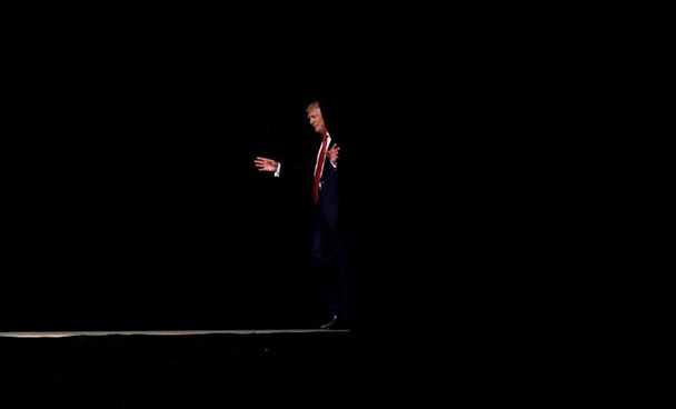Donald Trump attends a campaign rally at Crown Arena in Fayetteville, North Carolina.