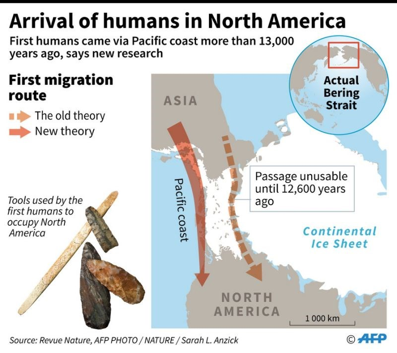 Map showing the new route believed to have been taken by the first humans coming from Asia to North America, published in the scientific magazine Nature