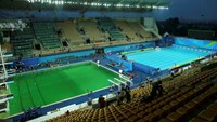 General view of the Olympic diving pool and the pool for the waterpolo and synchronized swimming.