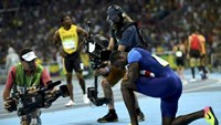 Justin Gatlin (USA) of USA reacts after the race