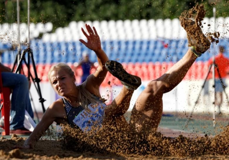 Darya Klishina during an attempt.