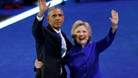 U.S. President Barack Obama is joined by Democratic Nominee for President Hillary Clinton at the Democratic National Convention in Philadelphia, Pennsylvania, U.S. July 27, 2016.